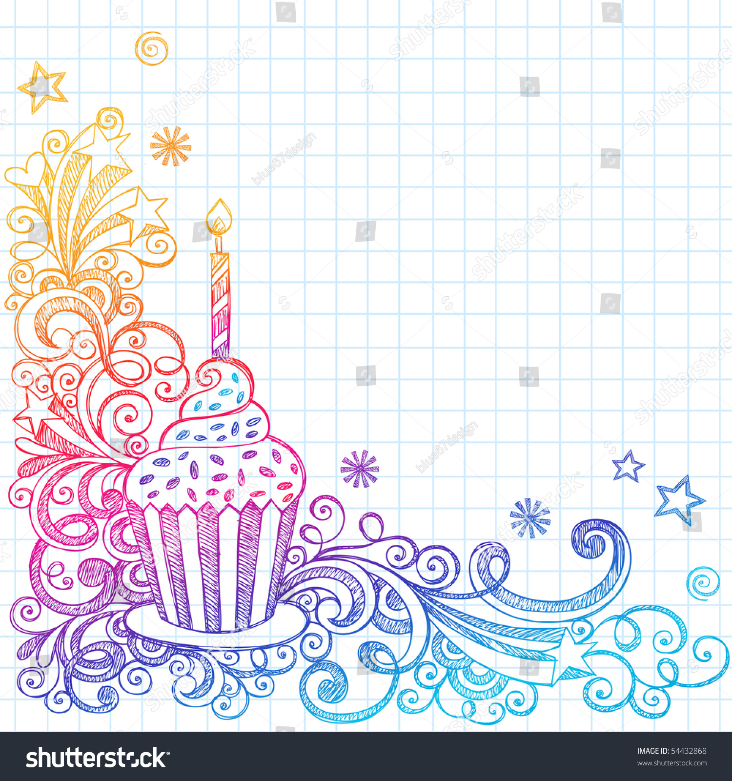 Handdrawn Sketchy Ornate Cupcake Doodle Page Stock Vector