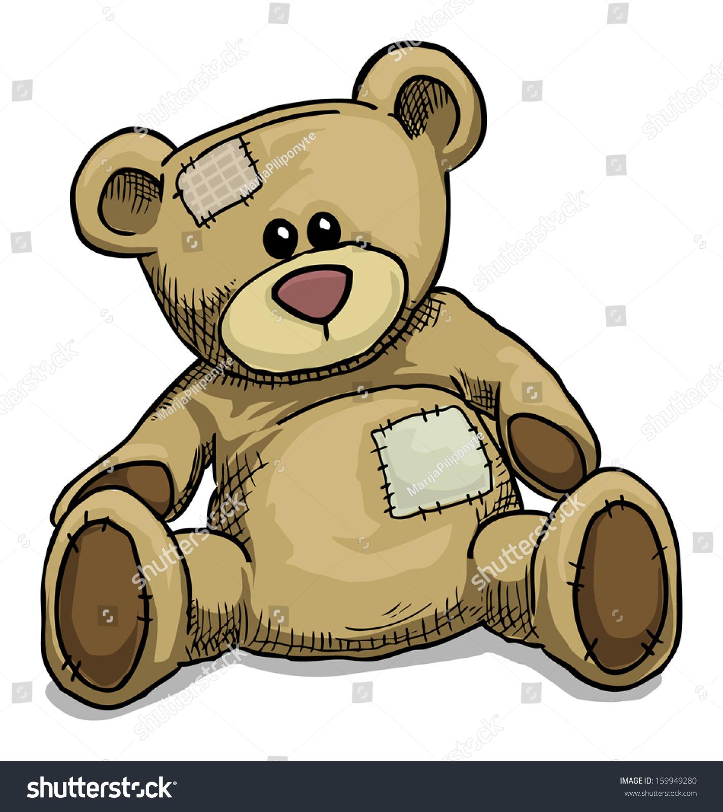 Hand Drawn Teddy Bear Isolated On White Vector