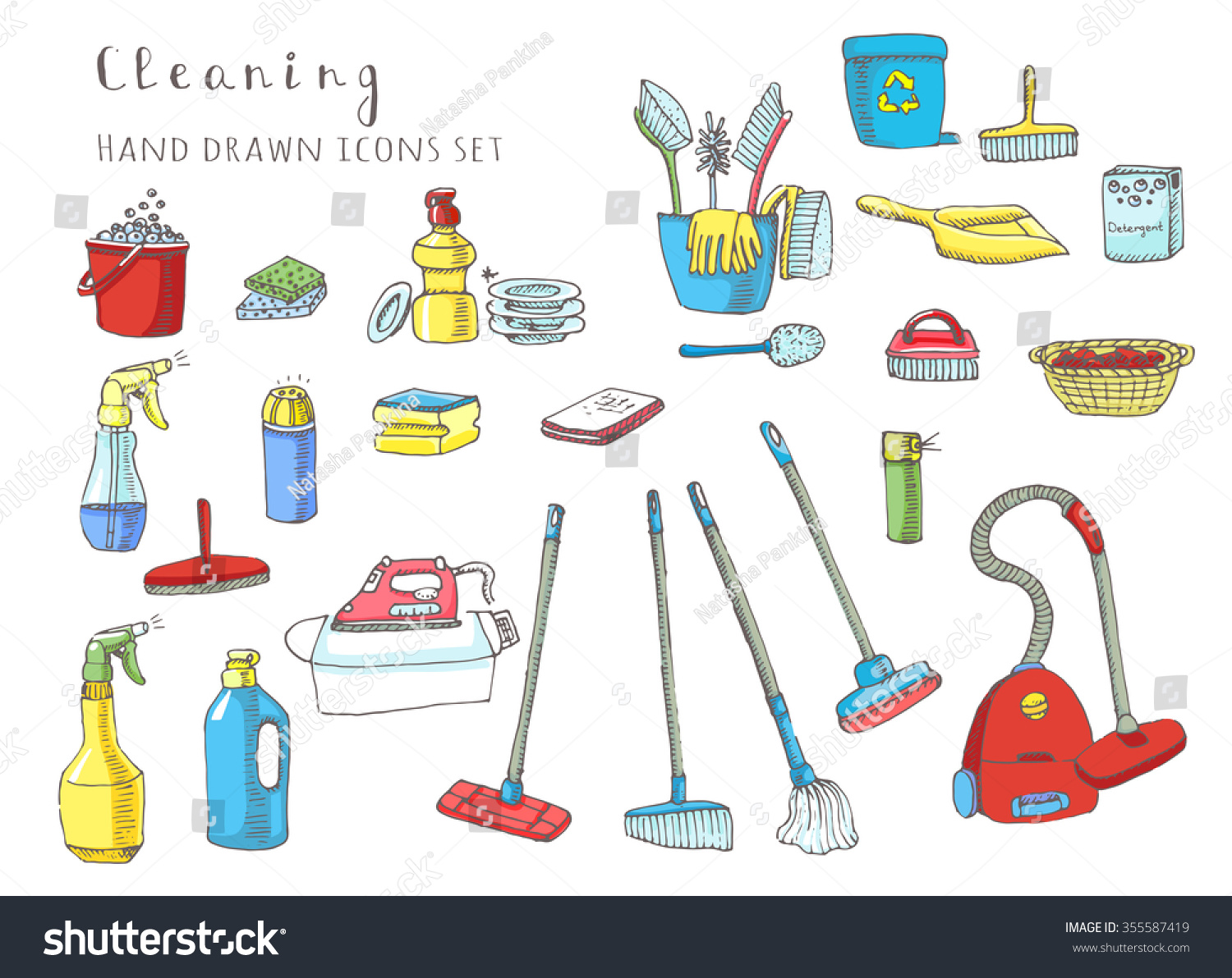Hand Drawn Vector Cleaning Service Icons Stock Vector