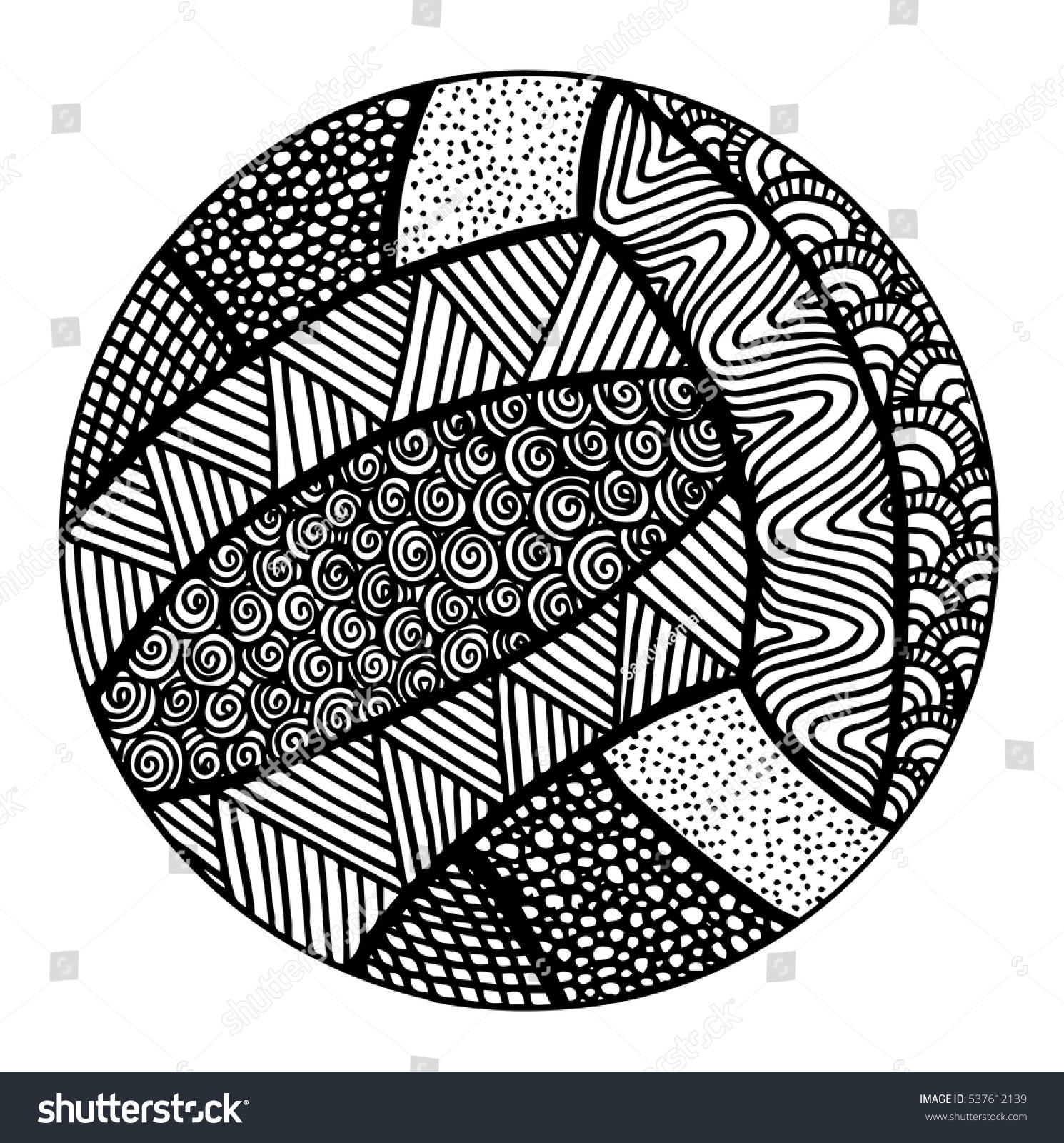 Hand Drawn Volleyball Illustration Stock Vector