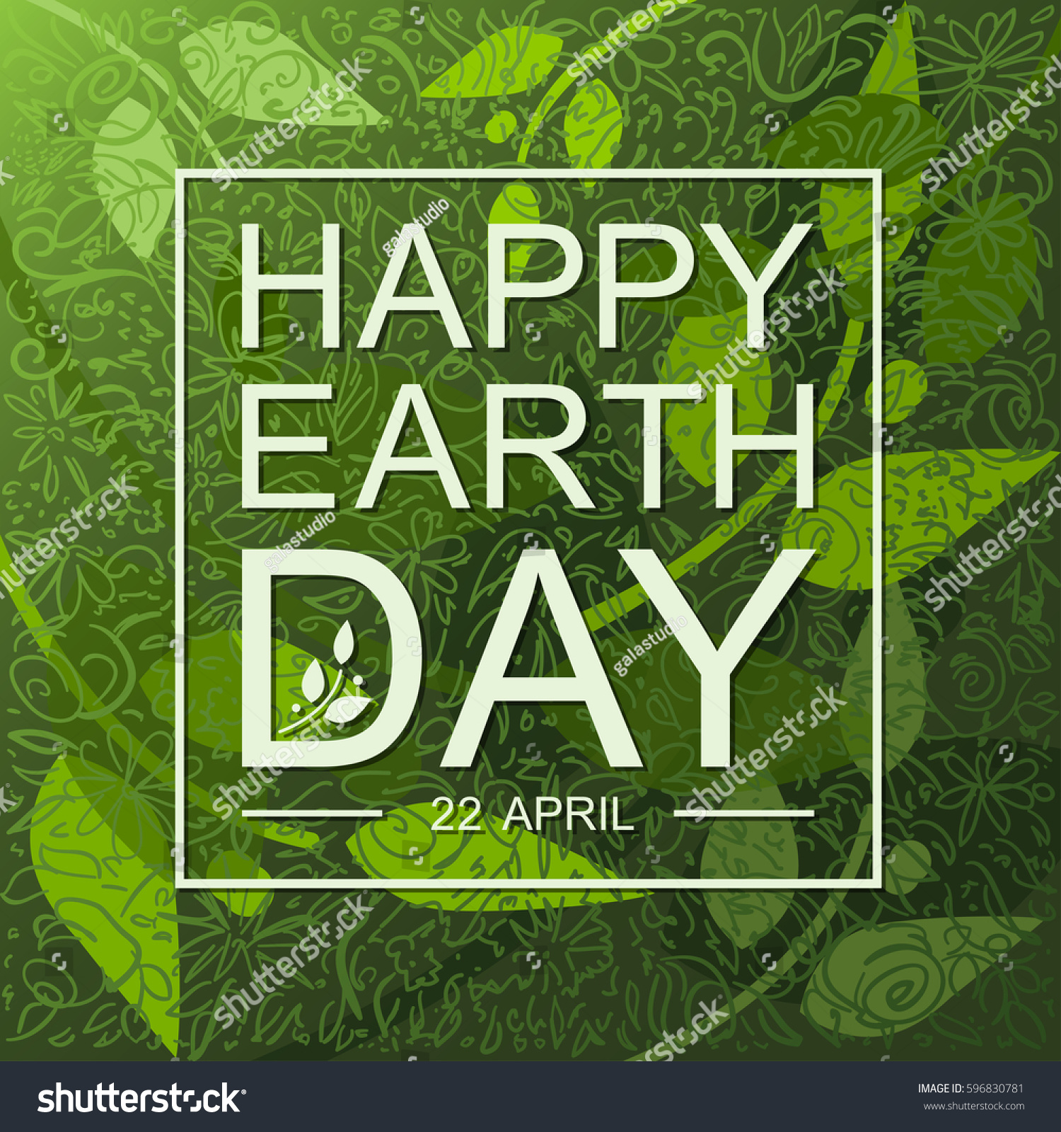 Happy Earth Day Flat Card Background Stock Vector