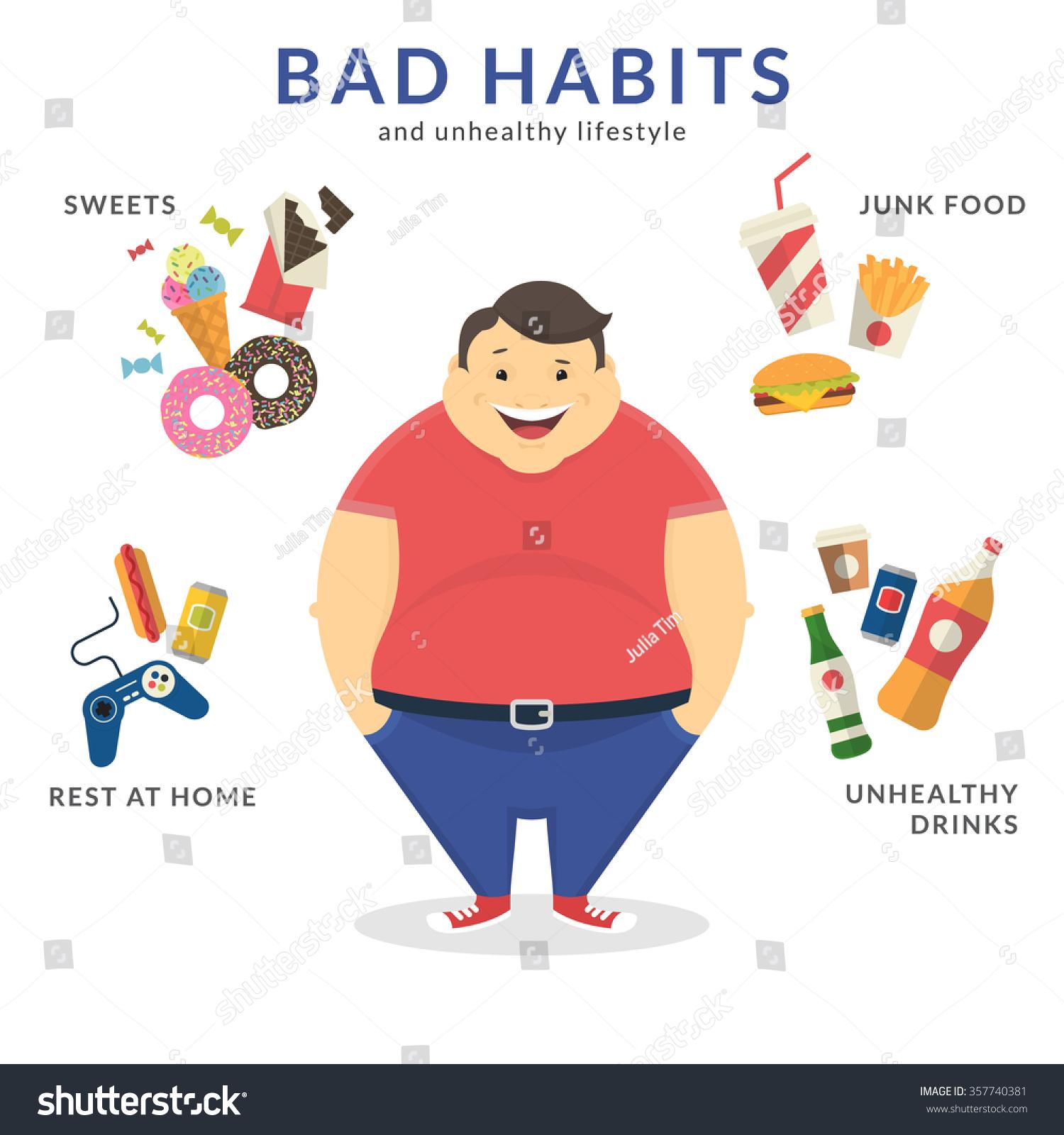 Happy Fat Man Unhealthy Lifestyle Symbols Stock Vector