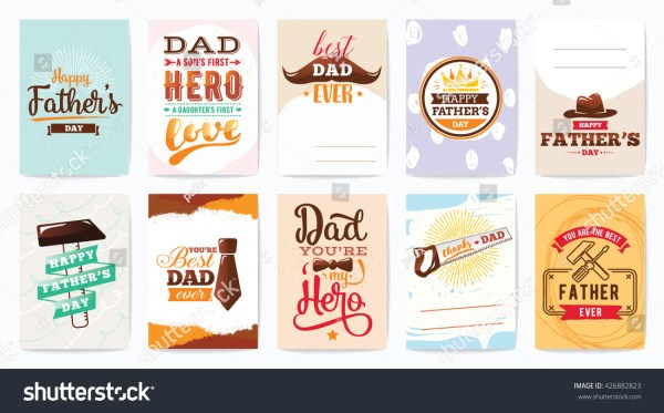Happy Fathers Day Greeting Cards Set Stock Vector ...