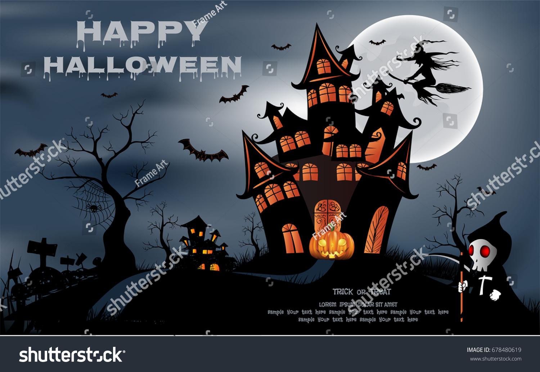 Happy Halloween Background Pumpkin Haunted House Stock