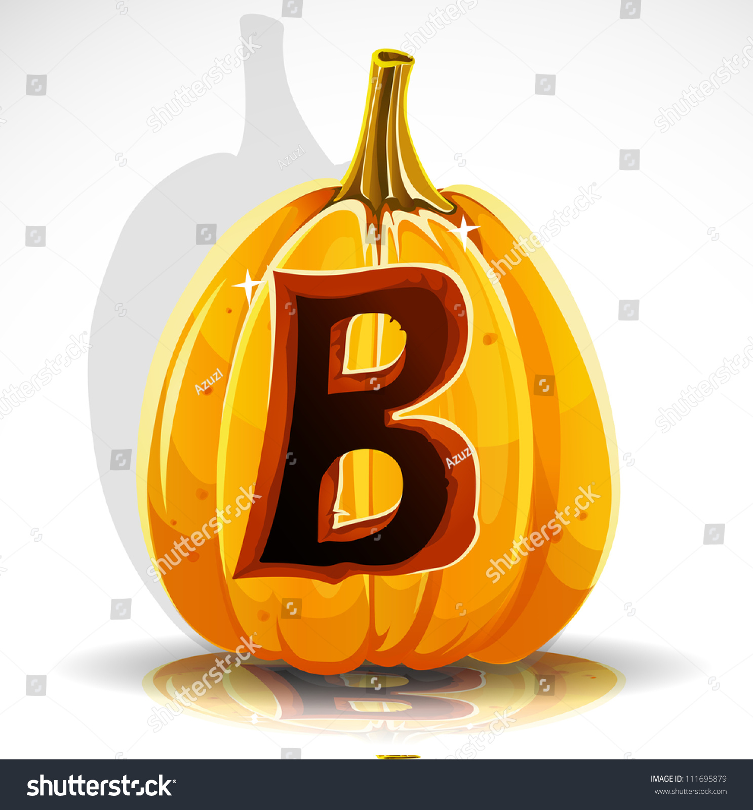 Happy Halloween Font Cut Out Pumpkin Letter B Stock Vector