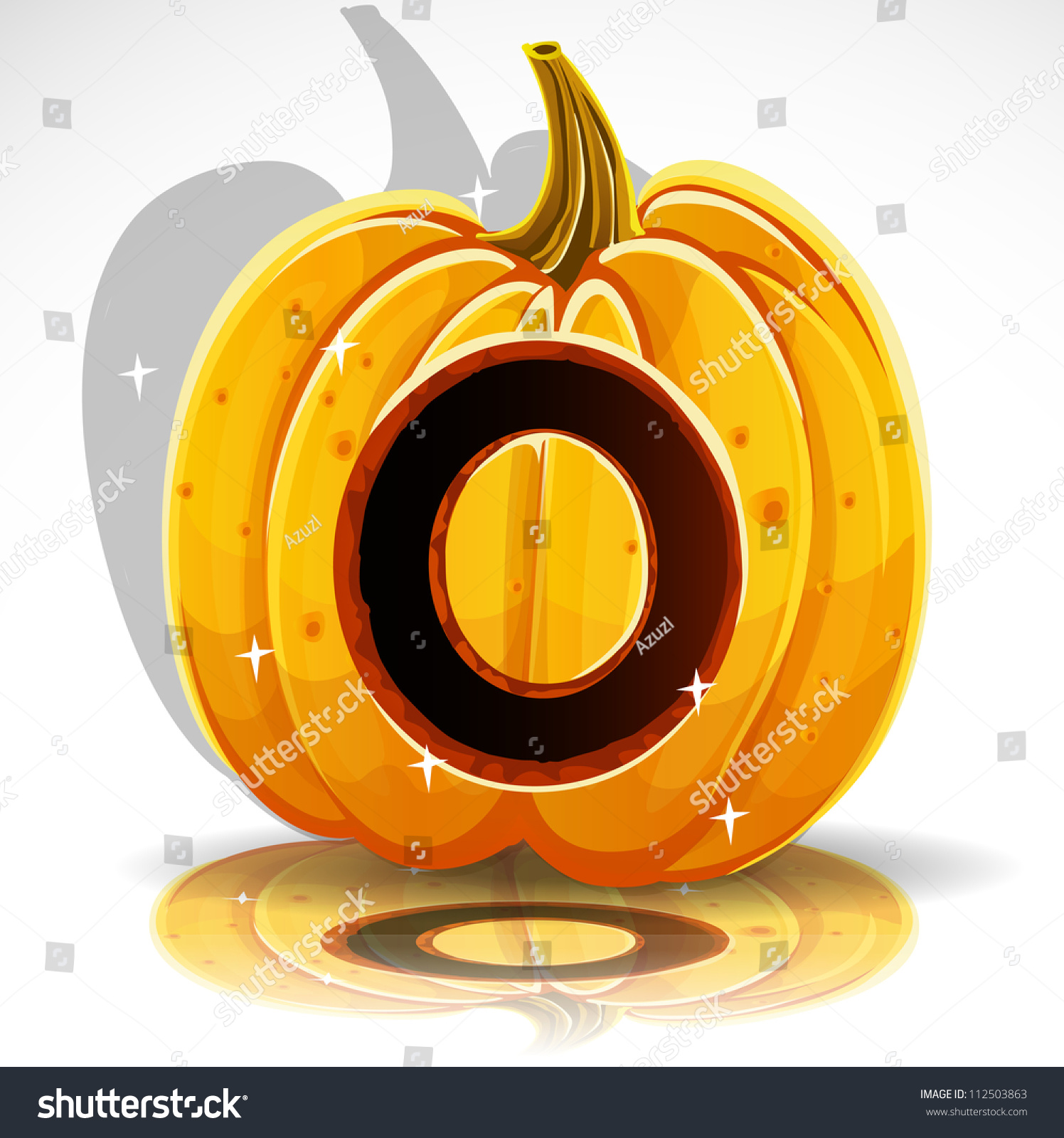 Happy Halloween Font Cut Out Pumpkin Letter O Stock Vector