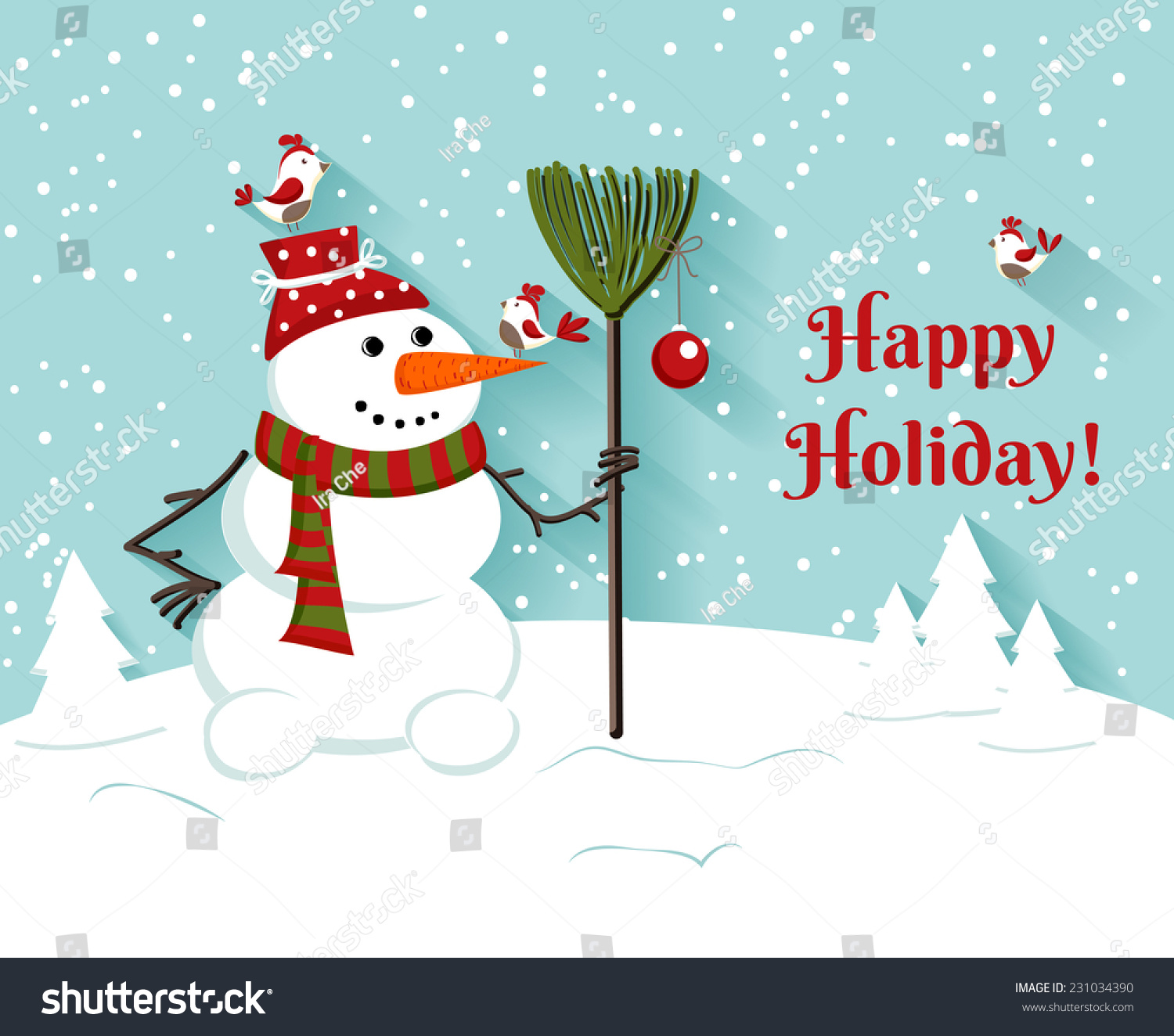 Happy Holiday Snowman Illustrationgreeting Card Vector