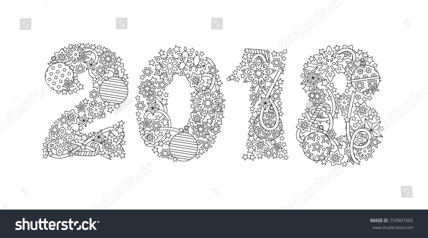 Happy New Year Number 2018 Isolated Stock Vector 759907405