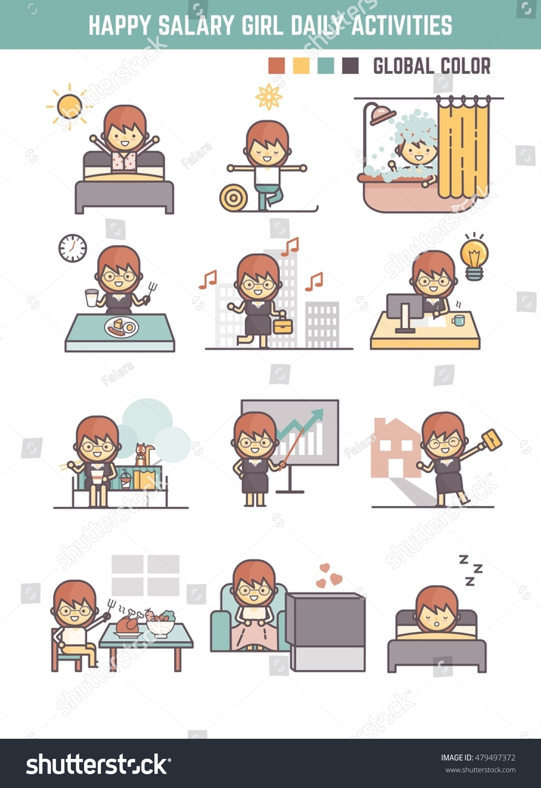 Happy Salary Girl Daily Life Routine Stock Vector