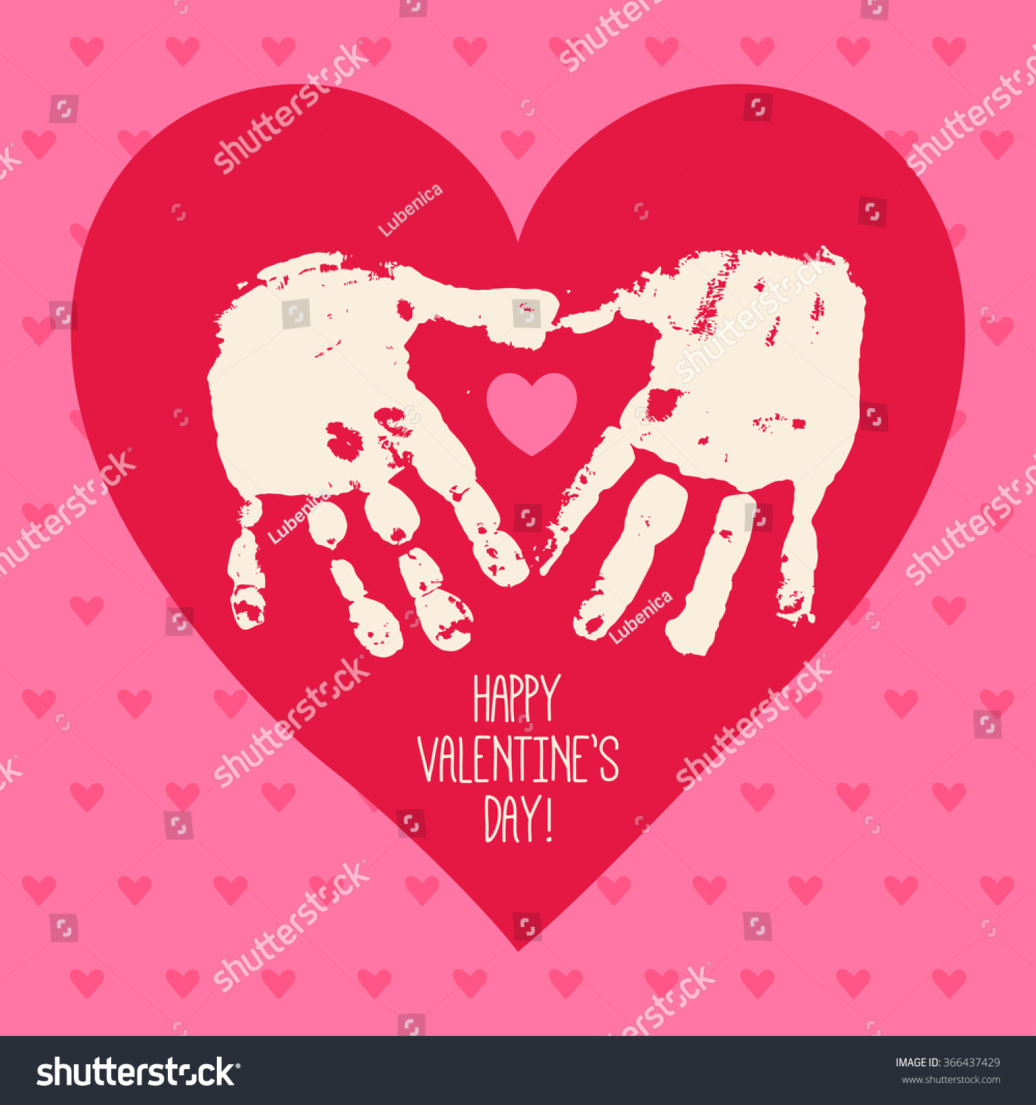 Happy Valentine S Day Card Design With Handprint Heart