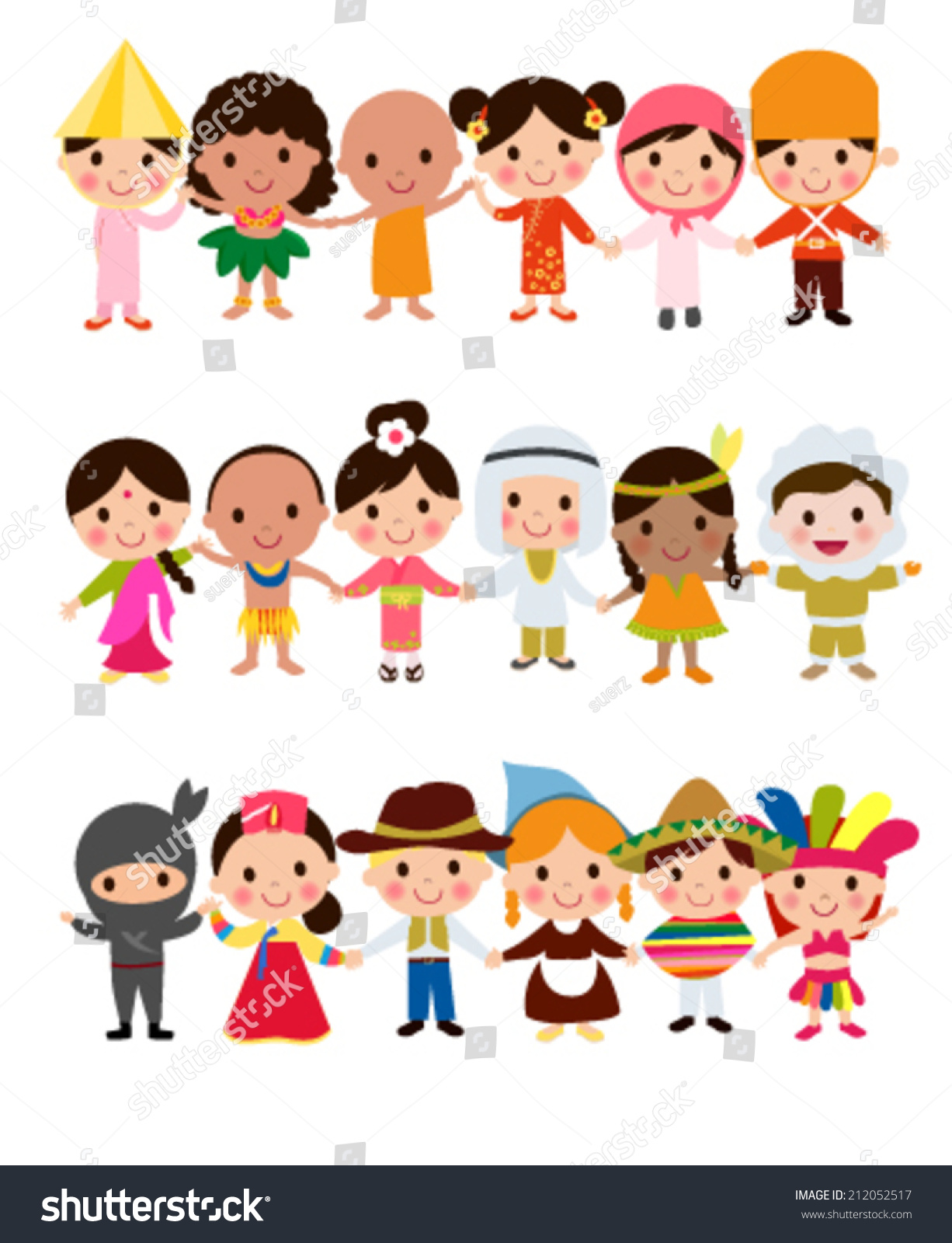 Happy World Kids Set Multicultural Traditional Stock