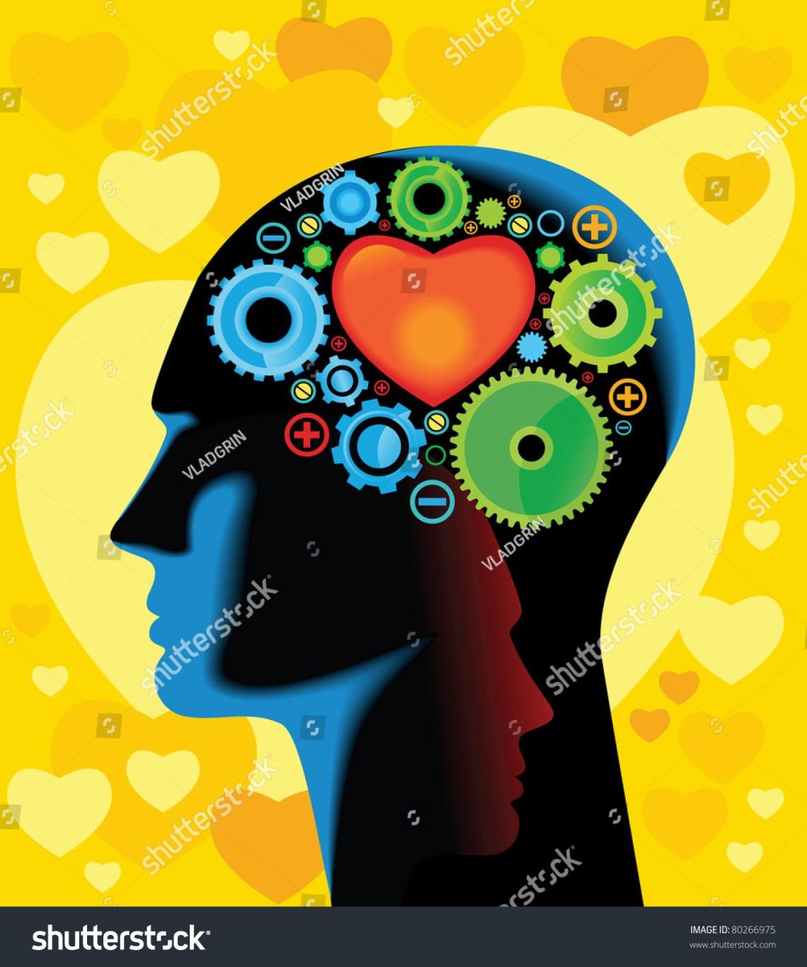 Download Head Brain Gears Progressthink About Love Stock Vector ...