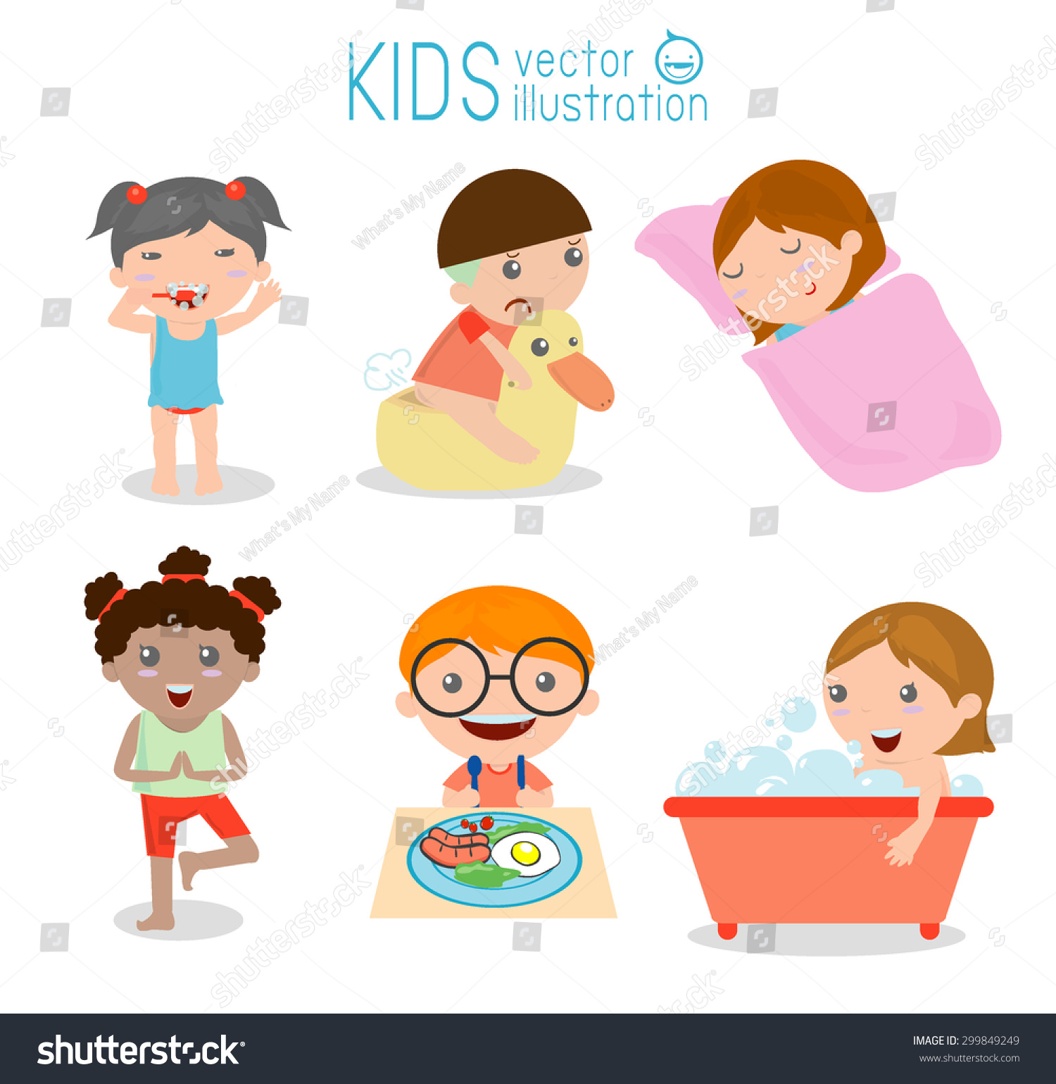 Health Hygiene Daily Routines Kids Vector Stock Vector