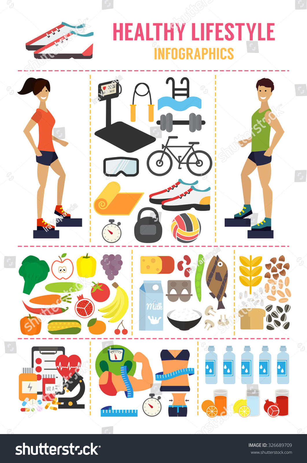 Healthy Lifestyle Infographic Fitness Food Active Stock