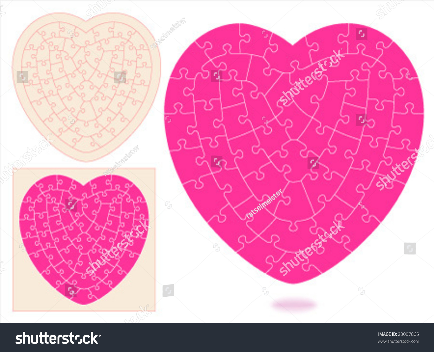 Heart Shaped Jigsaw Puzzle Blank Templates With Hand Cut