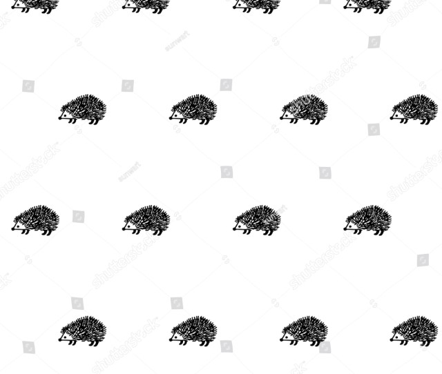 Hedgehog Seamless Pattern Vector Background Cute Small Animal Design Doodle Porcupine Textile Or