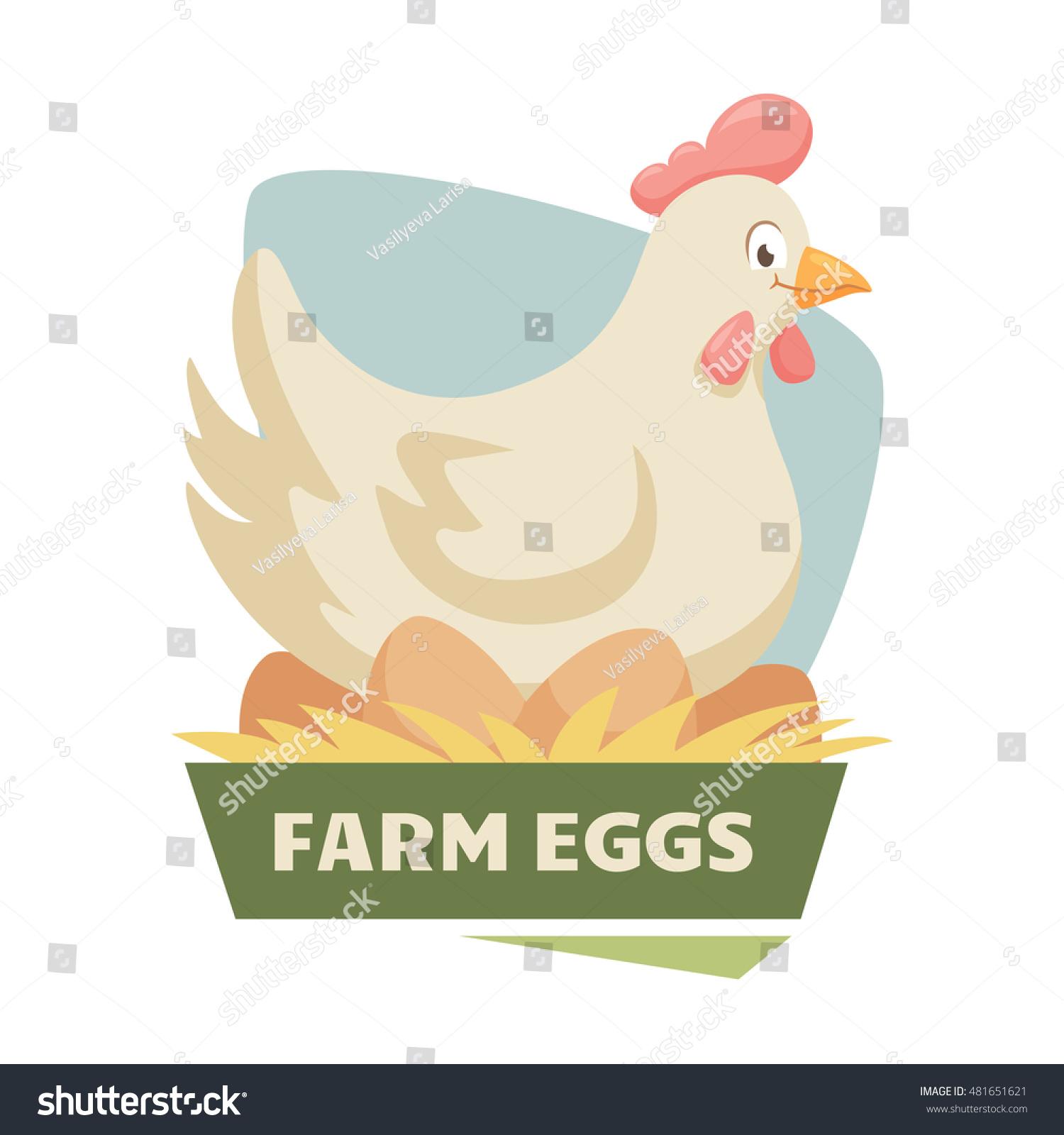Hen On Eggs Label Badge Chicken Stock Vector