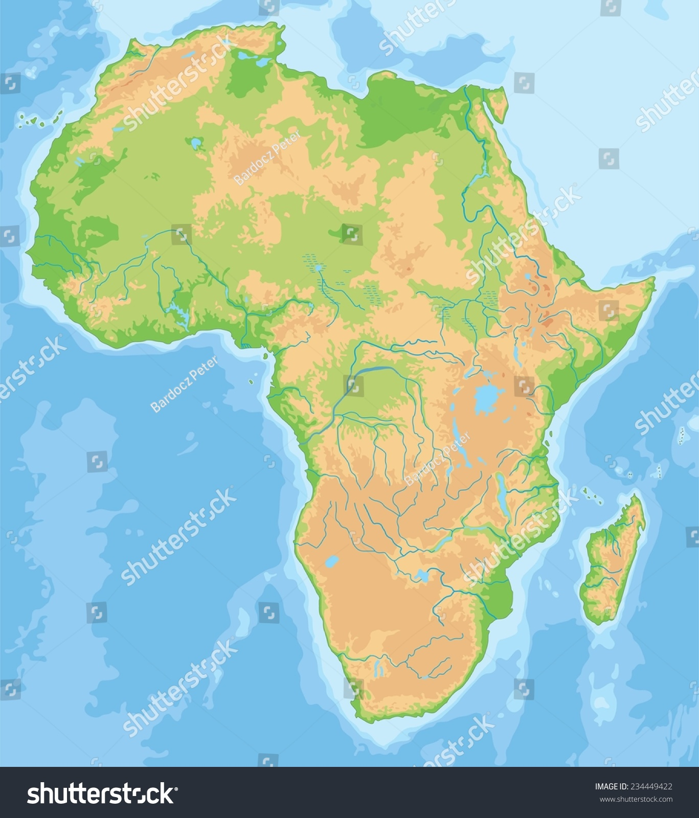 High Detailed Africa Physical Map Stock Vector