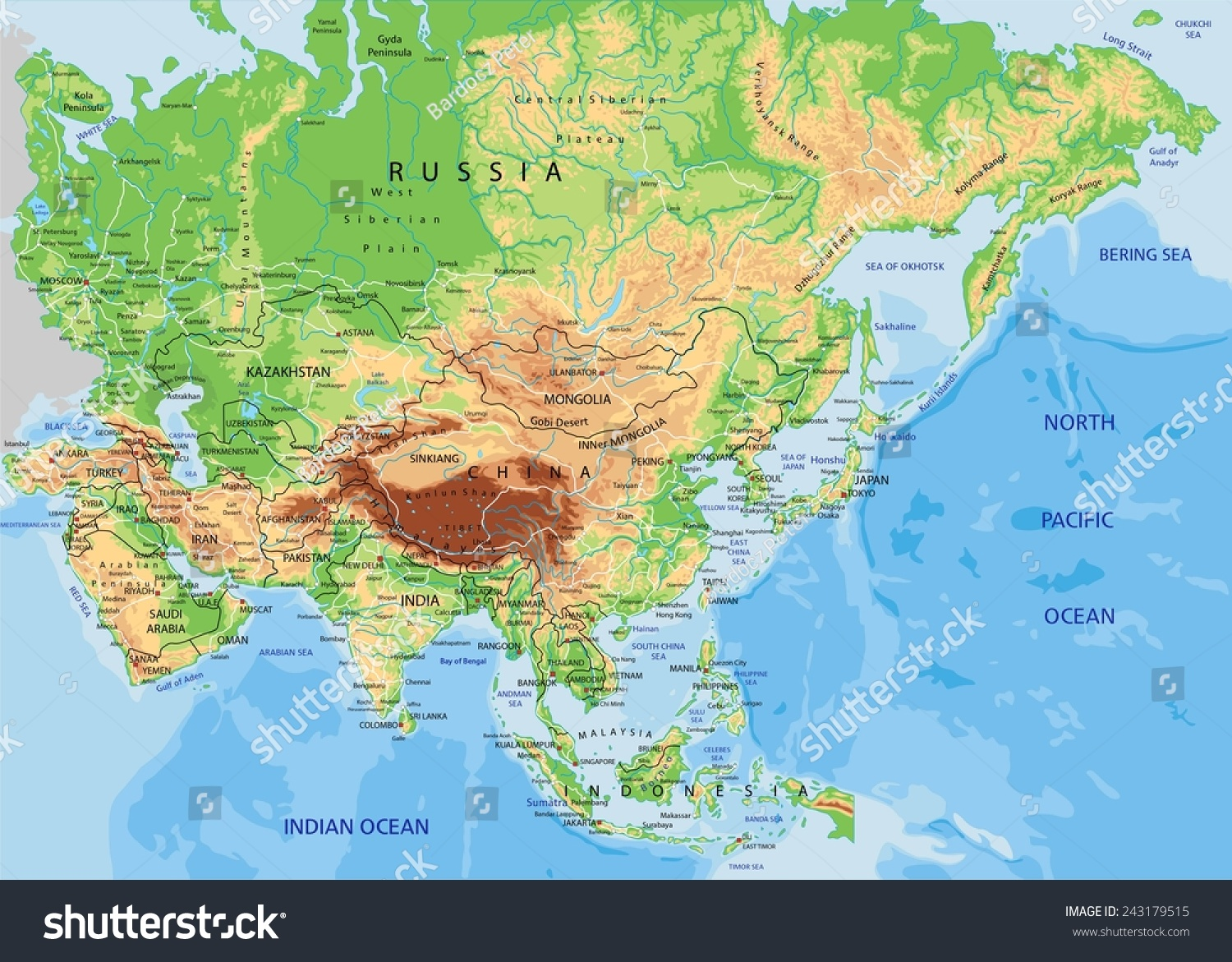 High Detailed Asia Physical Map Labeling Stock Vector