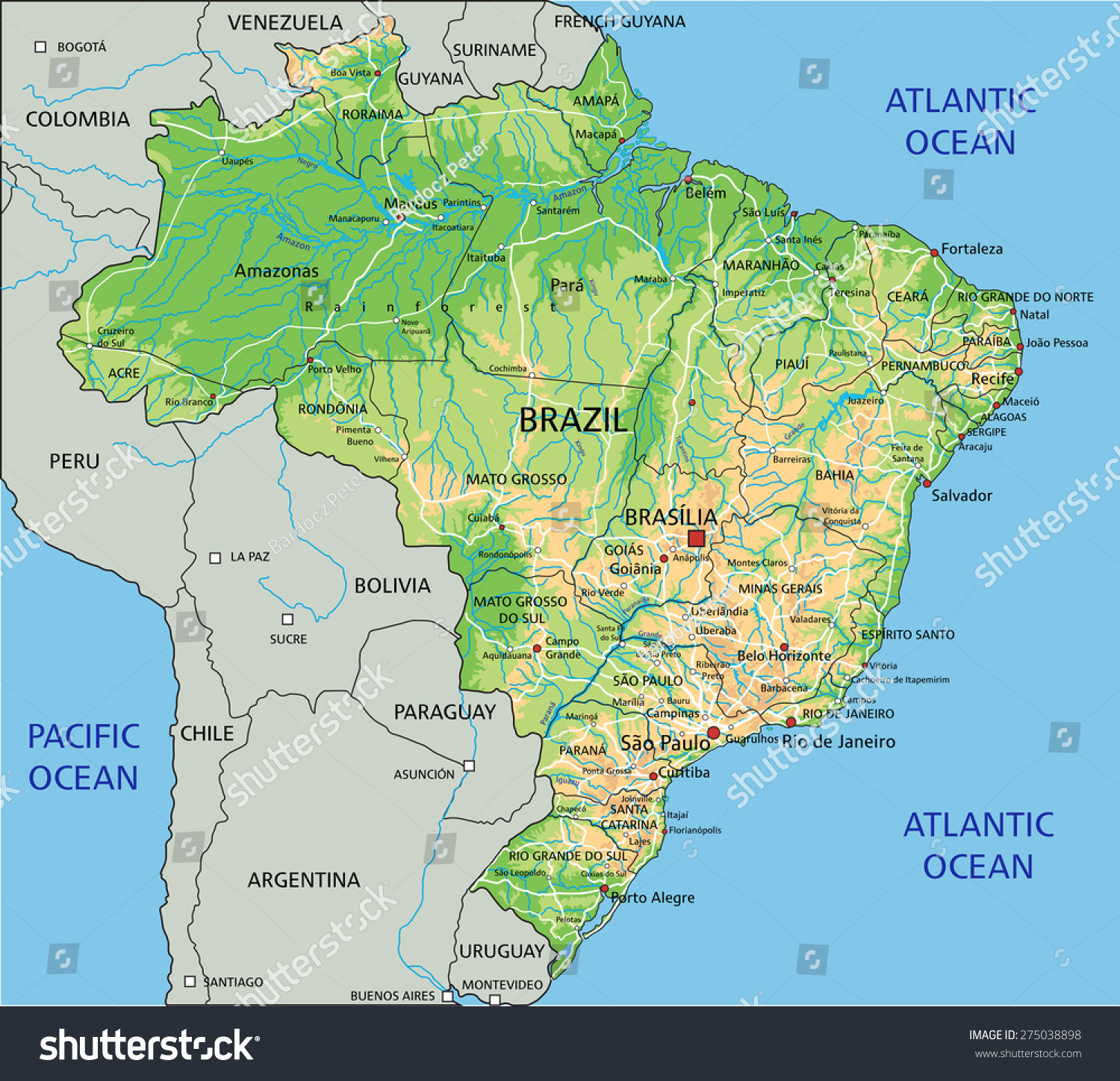 High Detailed Brazil Physical Map Labeling Stock Vector