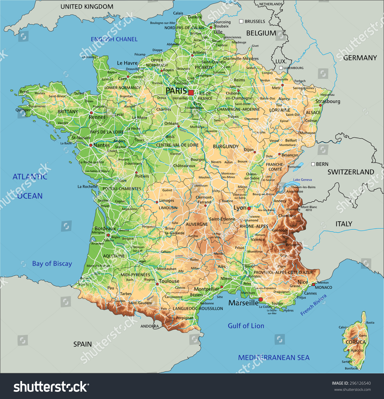 High Detailed France Physical Map Labeling Stock Vector