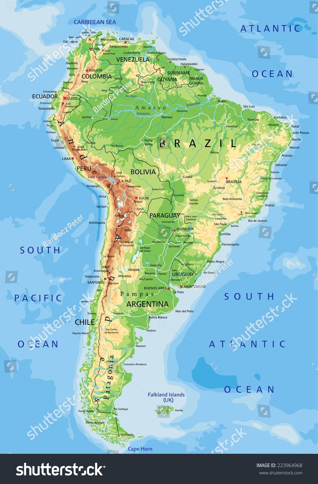 High Detailed South America Physical Map With Labeling Stock Vector Shutterstock