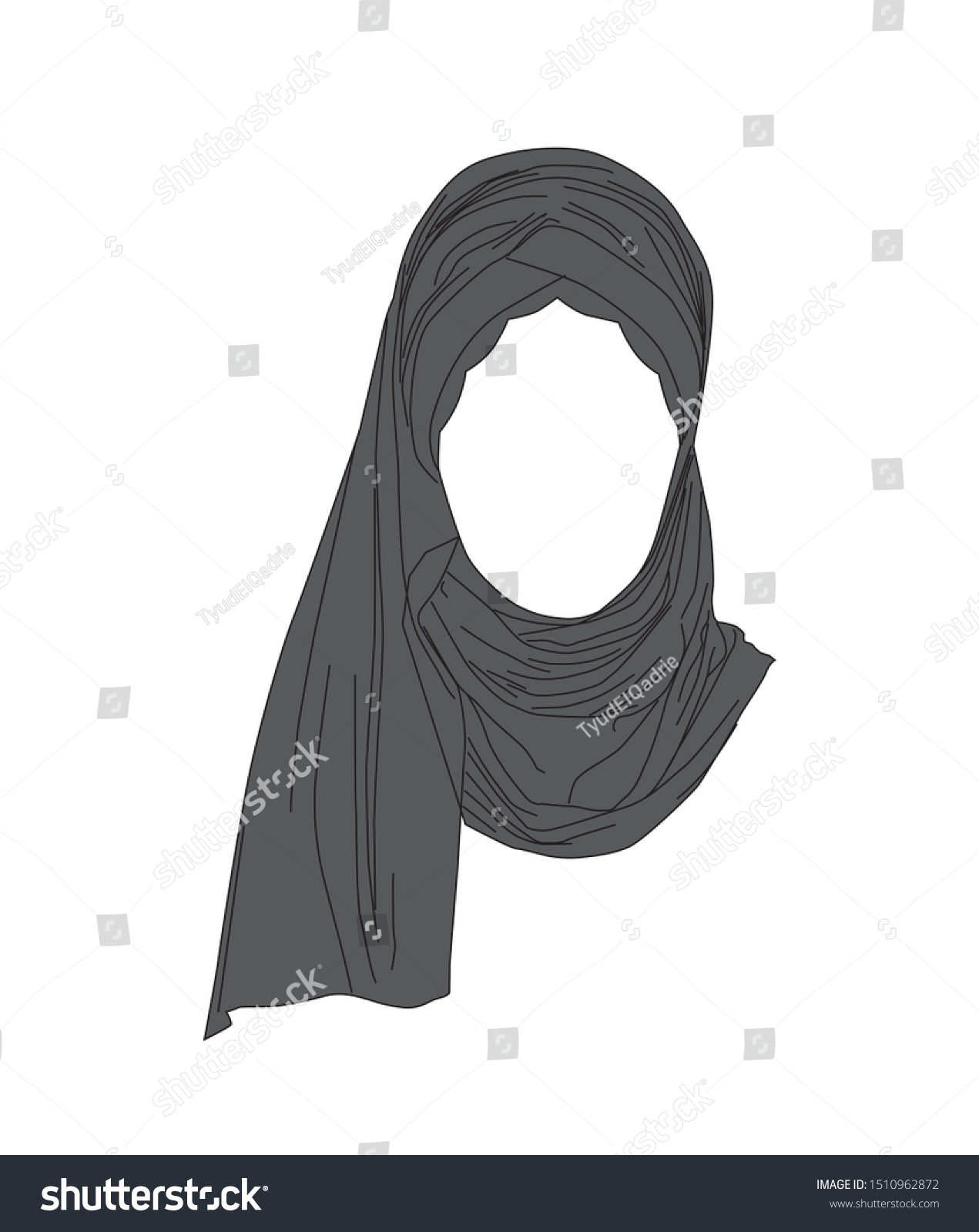 Arabic editable line icons vector set on black background. Hijab Woman Islamic Hijab White Background Stock Vector Royalty Free 1510962872