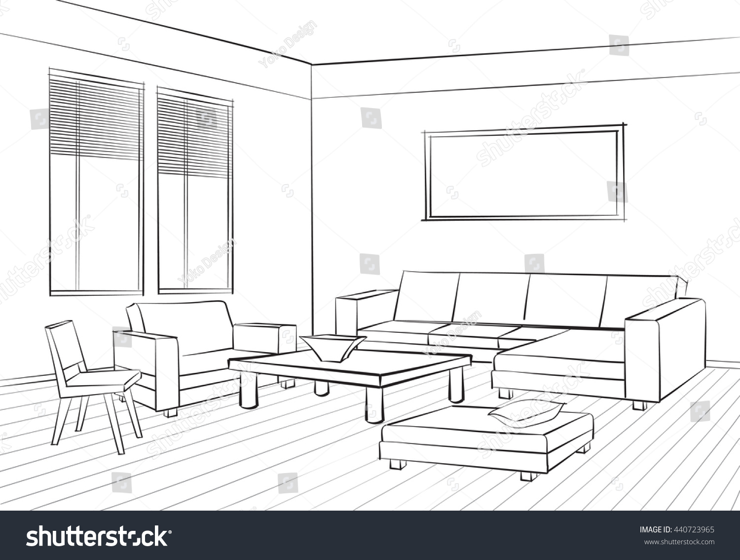 One Point Perspective Room Interior