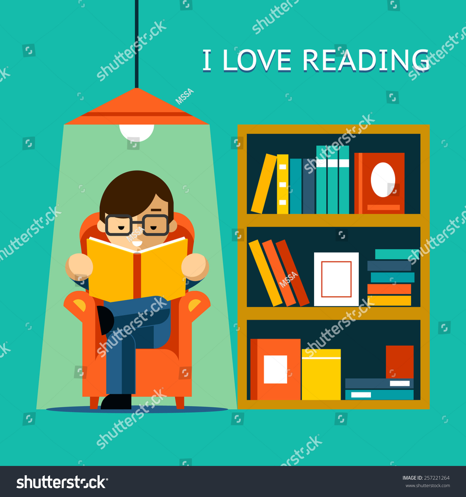 I Love Reading Man Sits In A Chair And Read Your Favorite Book Next To The Bookcase Vector