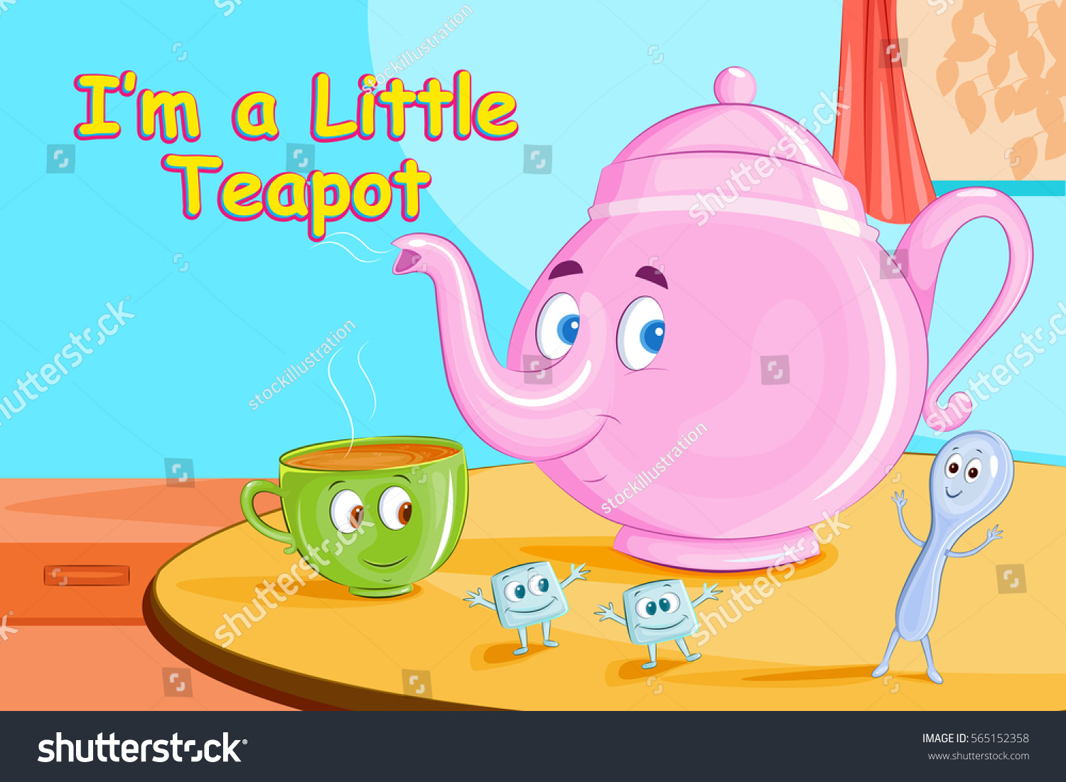 Little Teapotkids English Nursery Rhymes Book Stock Vector