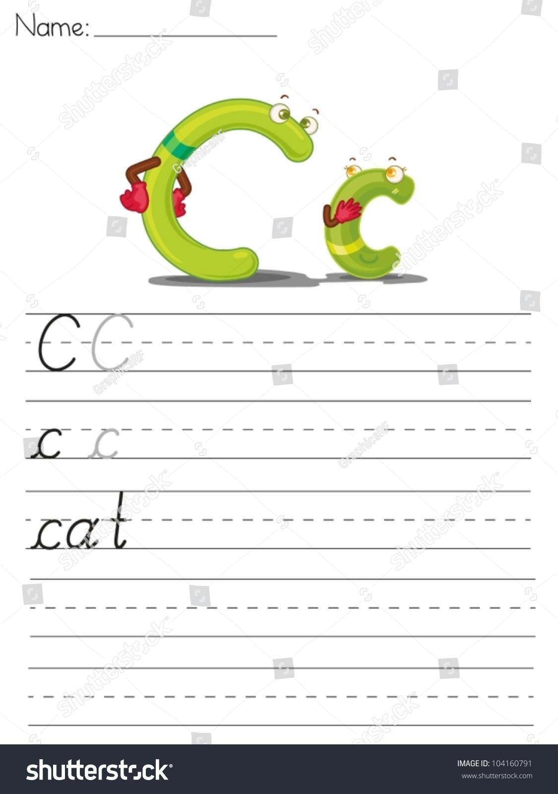 Illustrated Alphabet Worksheet Of The Letter C Stock Vector Illustration Shutterstock