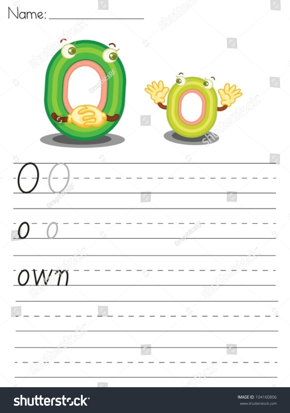 Illustrated Alphabet Worksheet Letter O Stock Vector