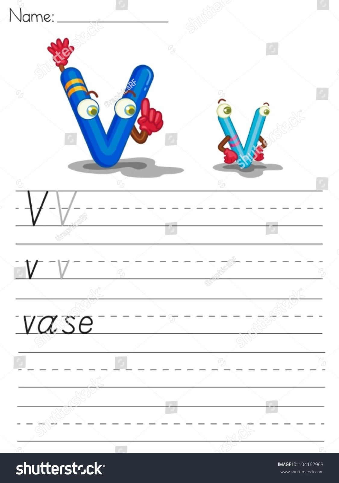 Illustrated Alphabet Worksheet Of The Letter V Stock Vector Illustration Shutterstock