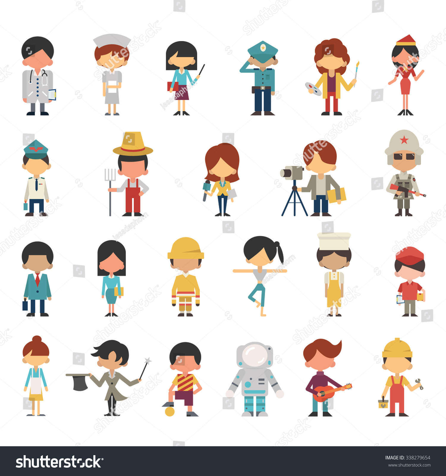 Illustration Characters Kids Children Various Occupations