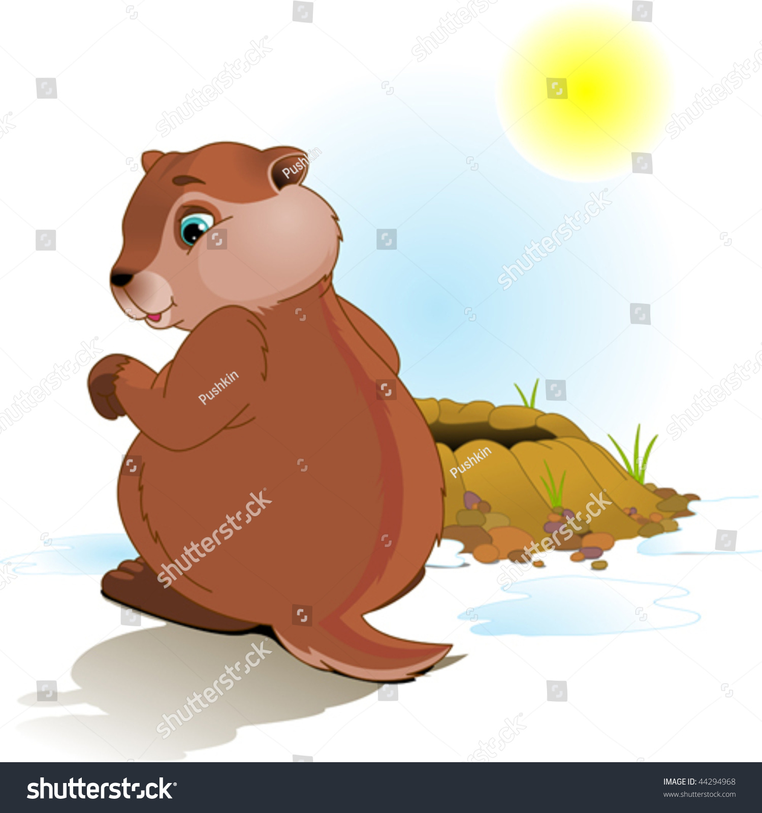 Illustration For Groundhog Day Groundhog Looking At His
