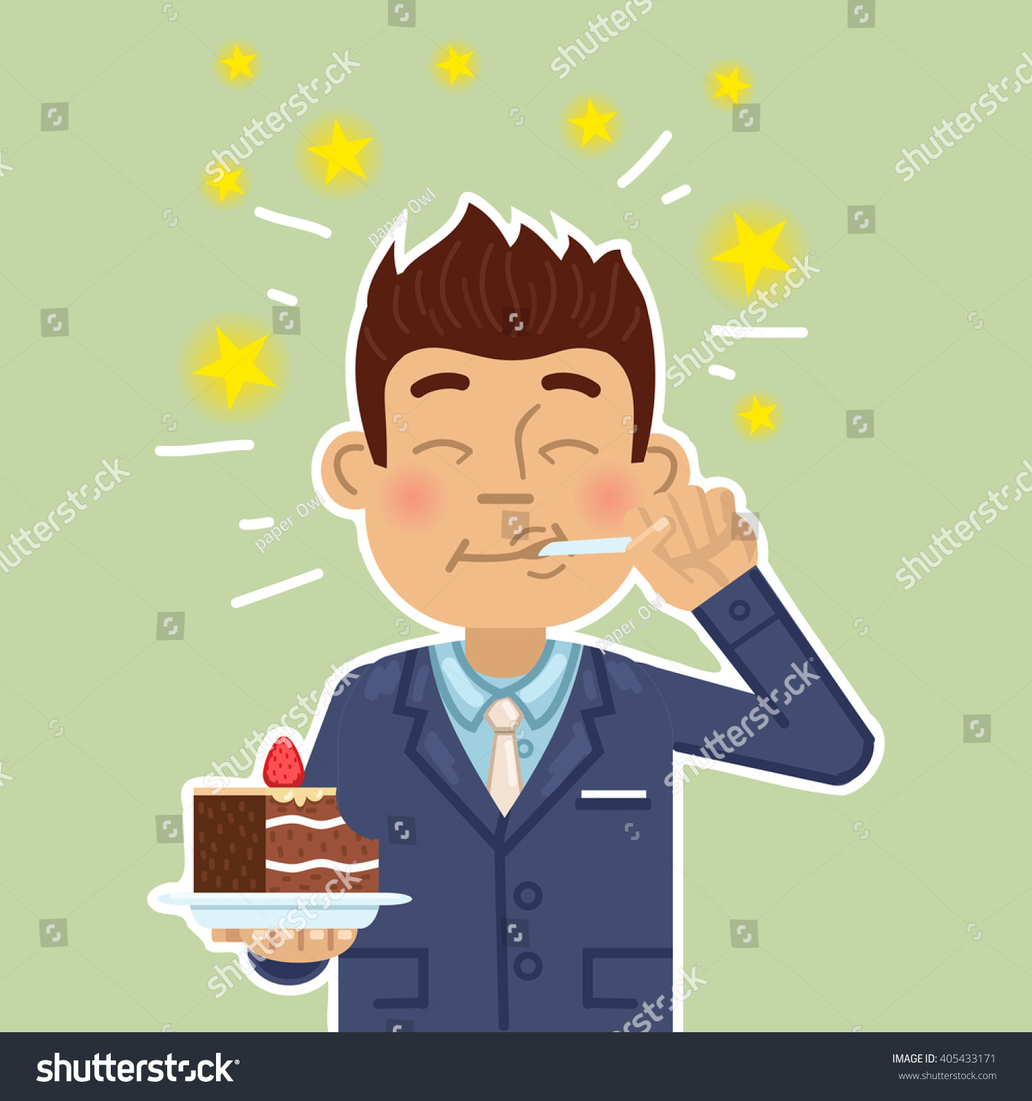 Illustration Businessman Eating Cake Joyful Man Stock