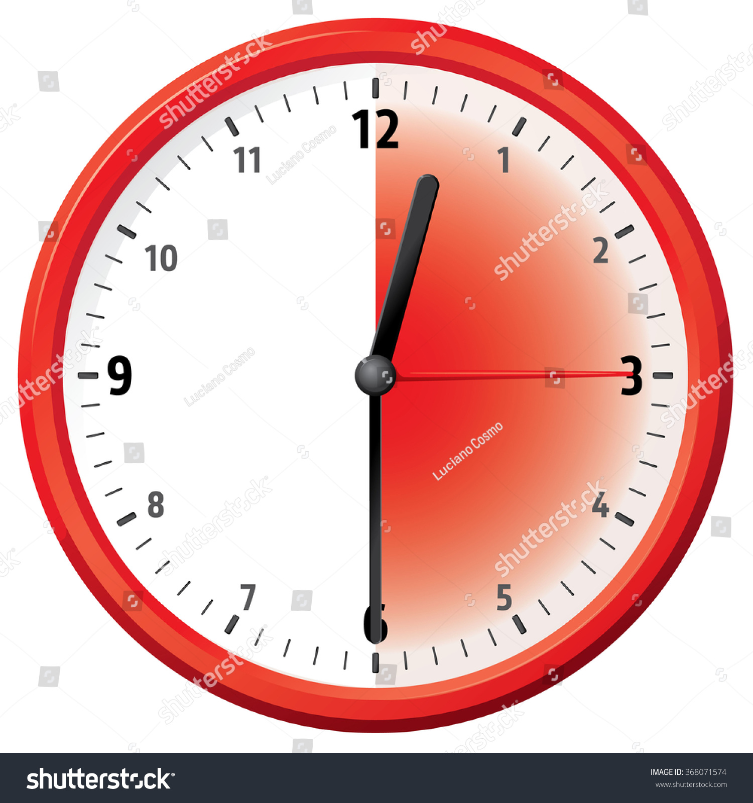 Illustration Clock Thirty Minutes Half Hour Stock Vector