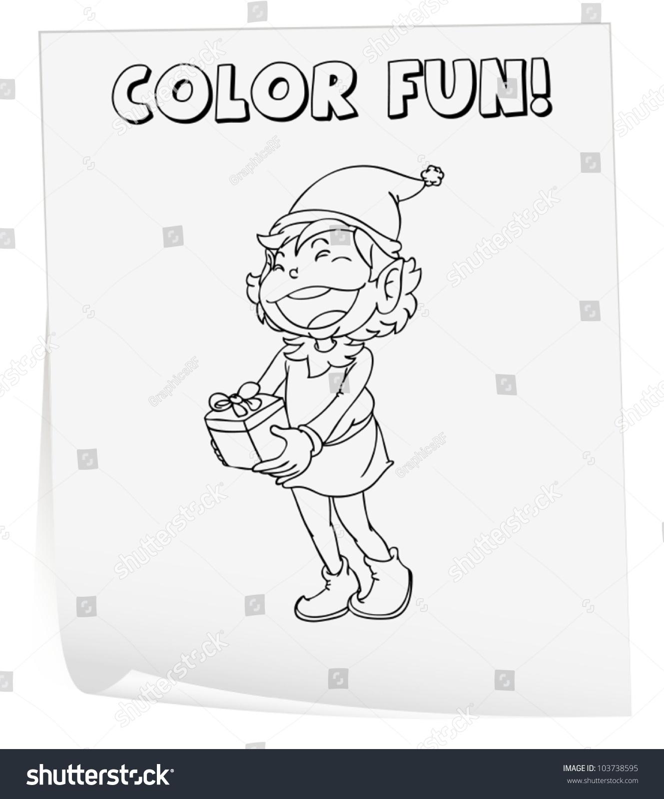 Illustration Colouring Worksheet Elf Stock Vector