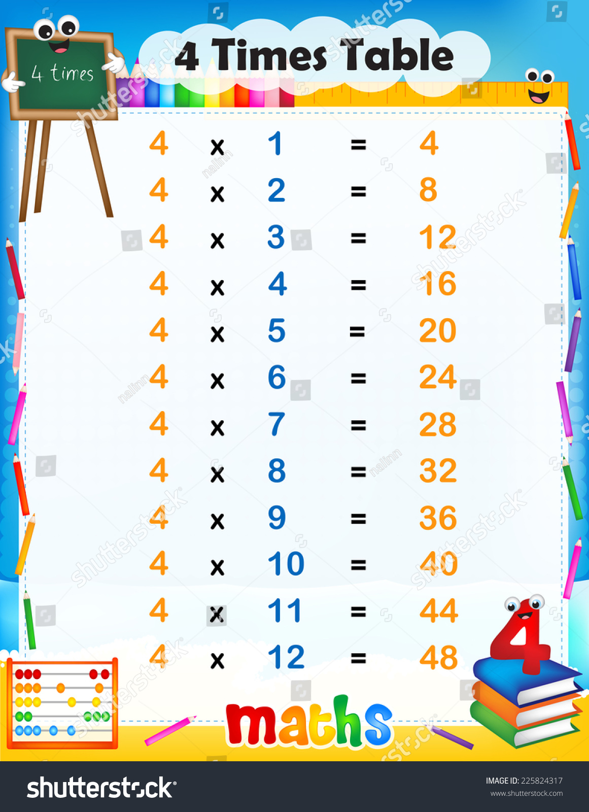 Illustration Cute Colorful Mathematical Times Table Stock