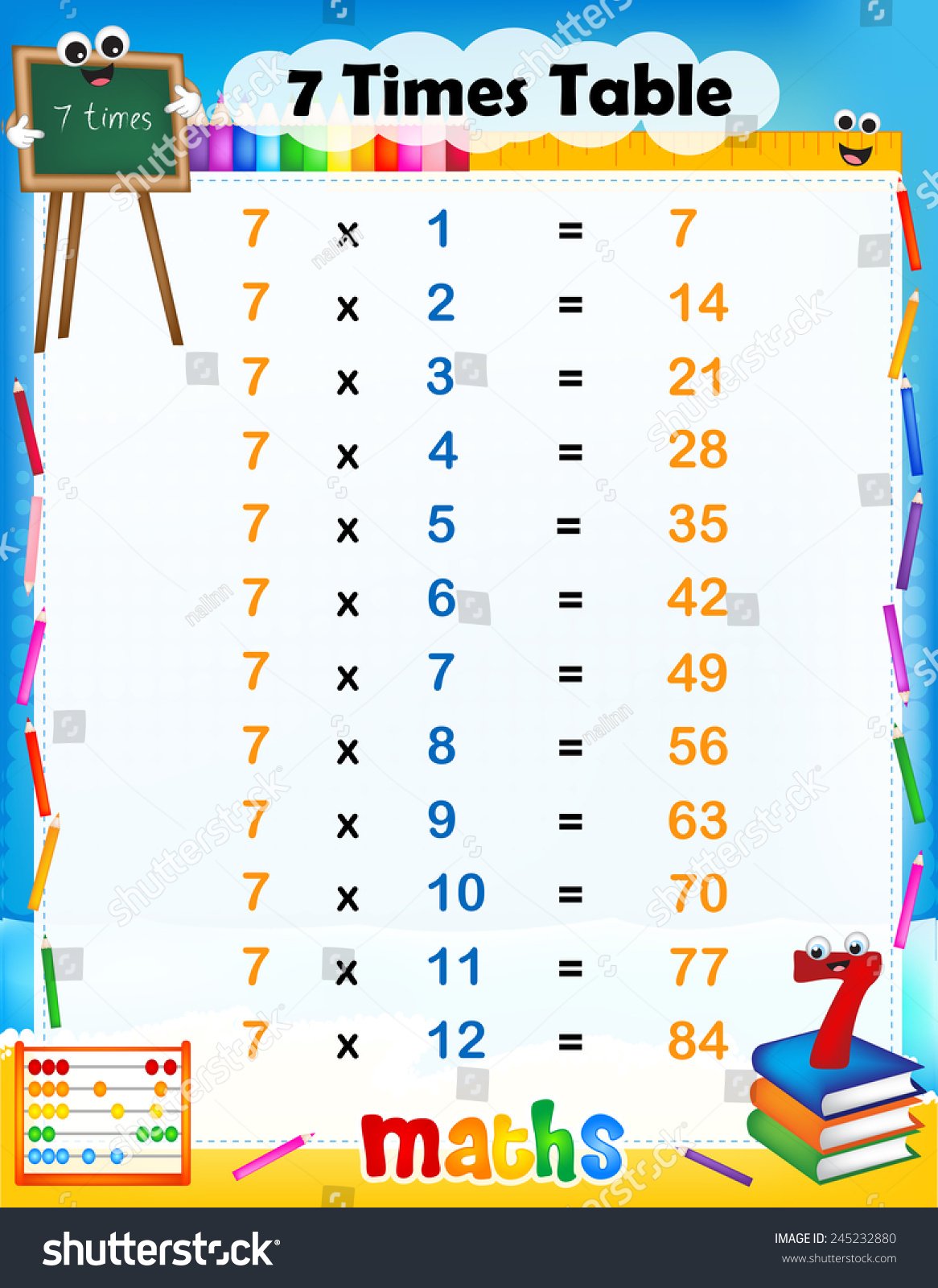 Illustration Of A Cute And Colorful Mathematical Times Table With Answers 7 Times Table