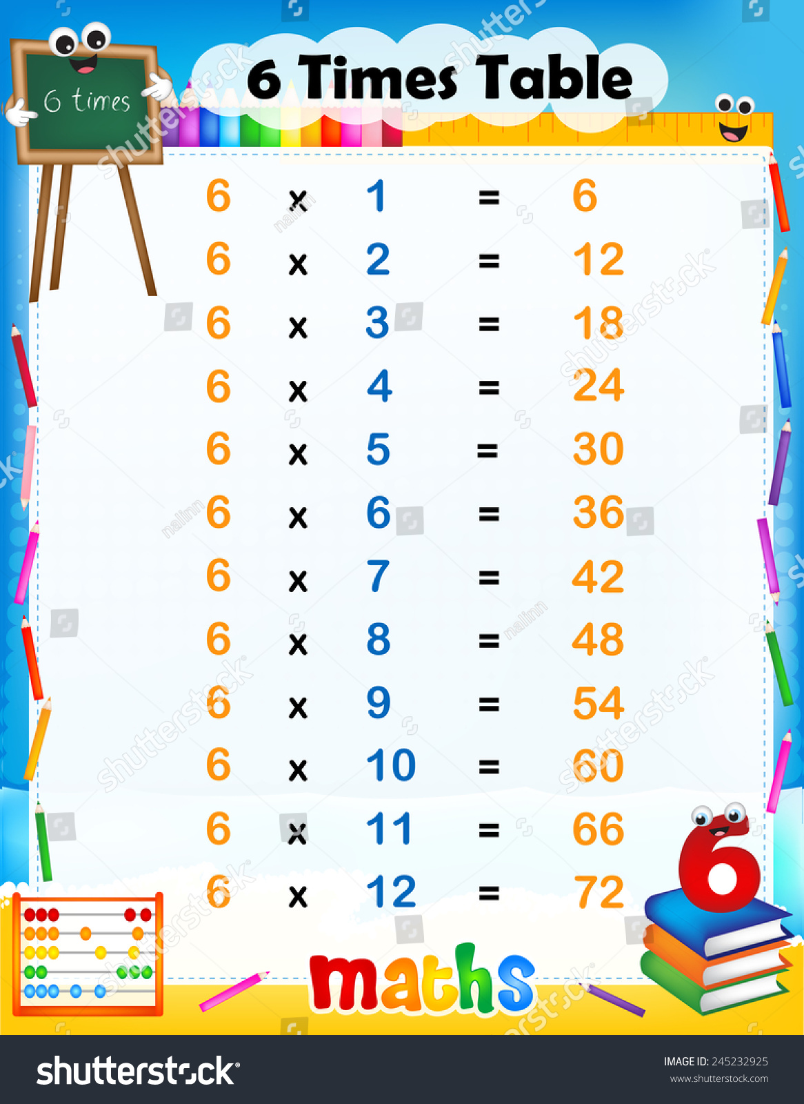 Illustration Cute Colorful Mathematical Times Table Stock Vector