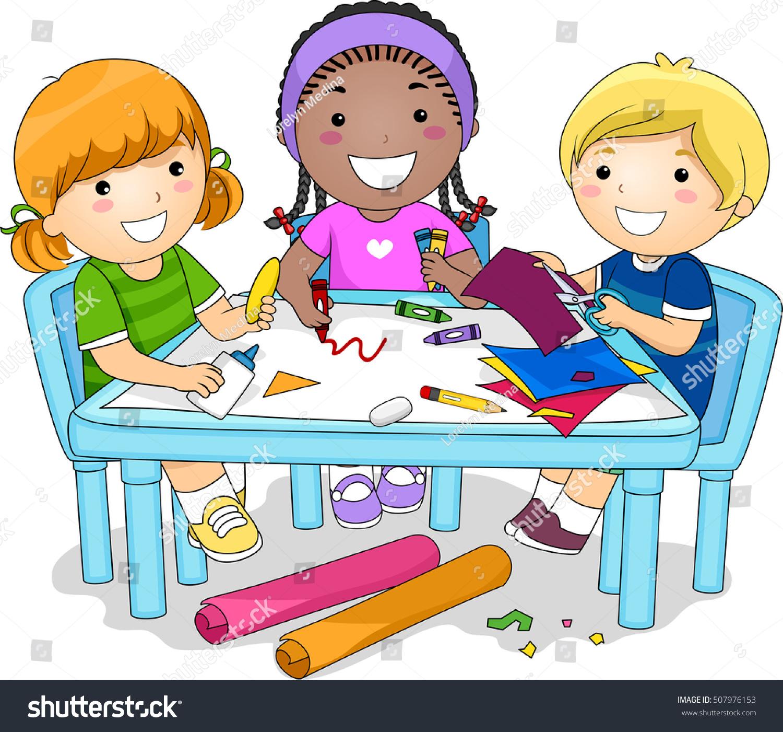 Illustration Diverse Group Preschool Kids Working Stock
