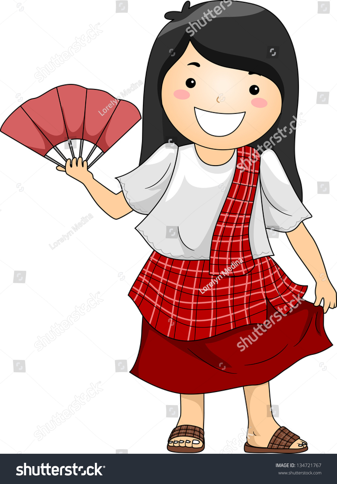 Illustration Happy Little Girl Wearing Traditional Stock