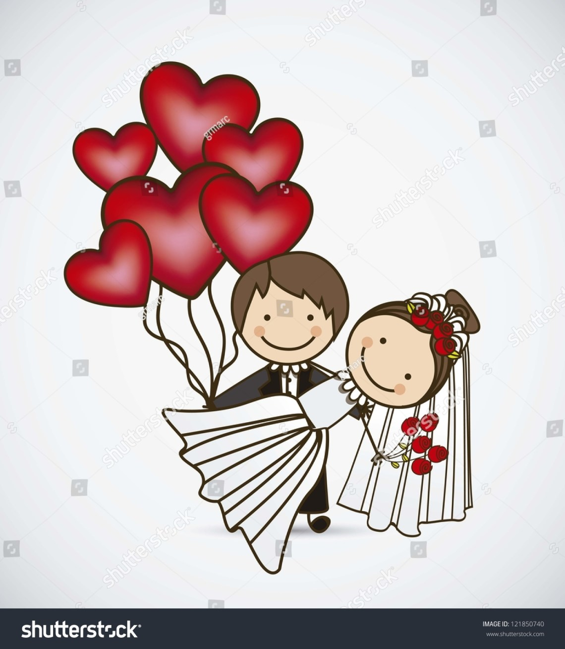 Download Illustration Of Couple With Hearts Balloons, Love Icons ...