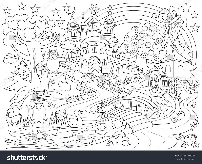 Illustration Me Val Castle Fairyland Fantasy Forest Stock Vector