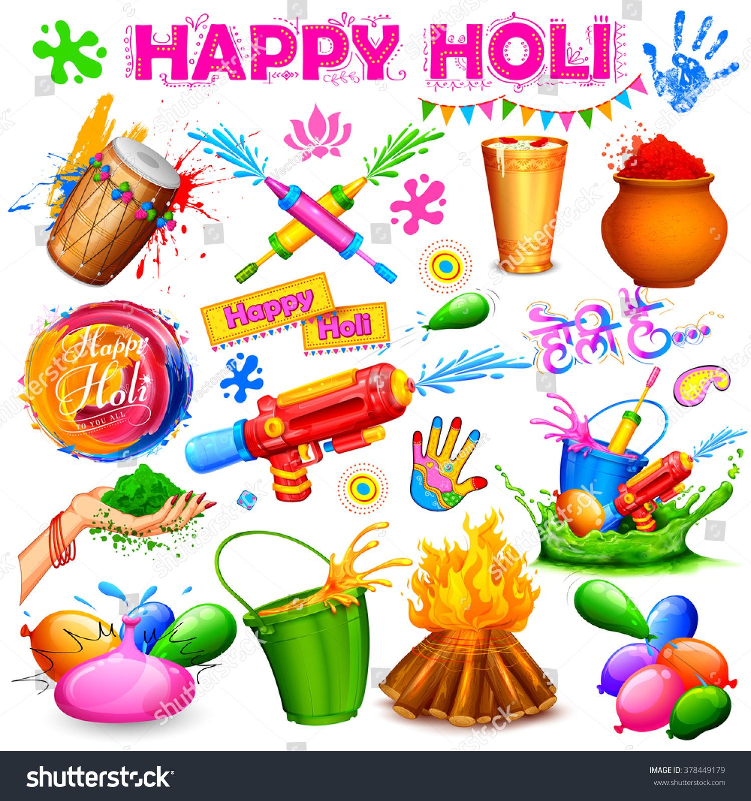 Illustration Set Holi Element Colors Message Stock Vector