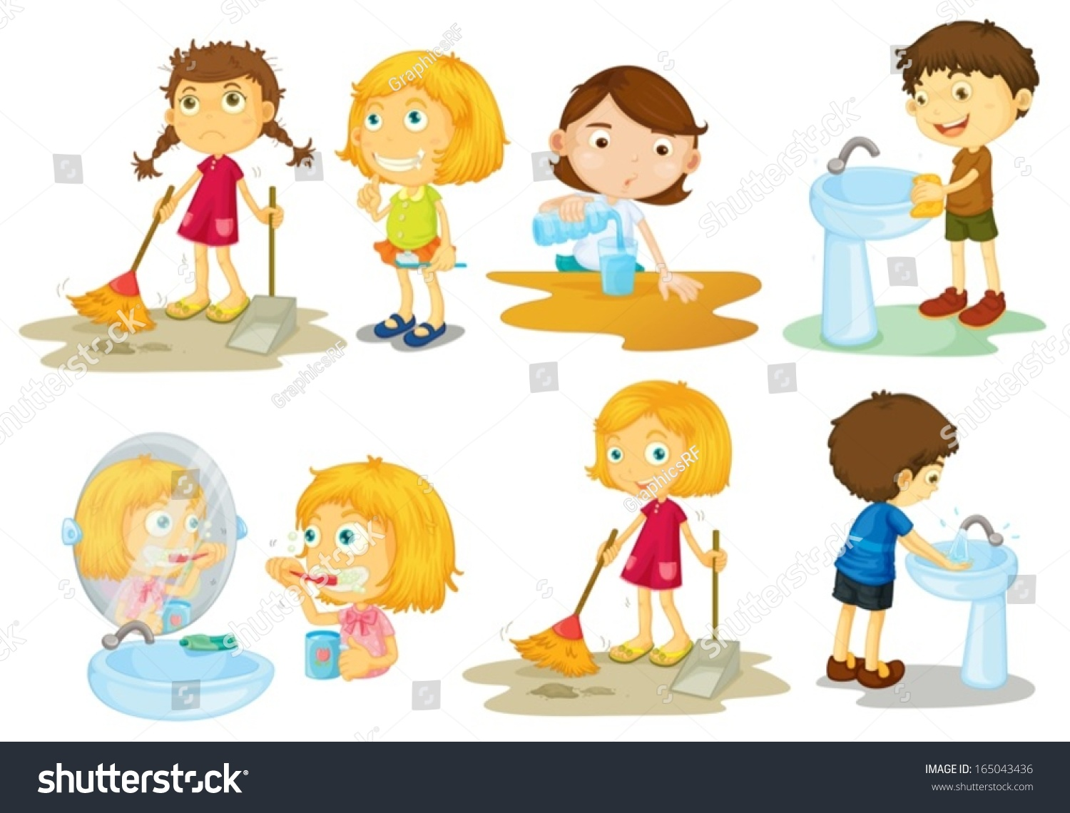 Illustration Kids Engaging Different Activities On Stock Vector