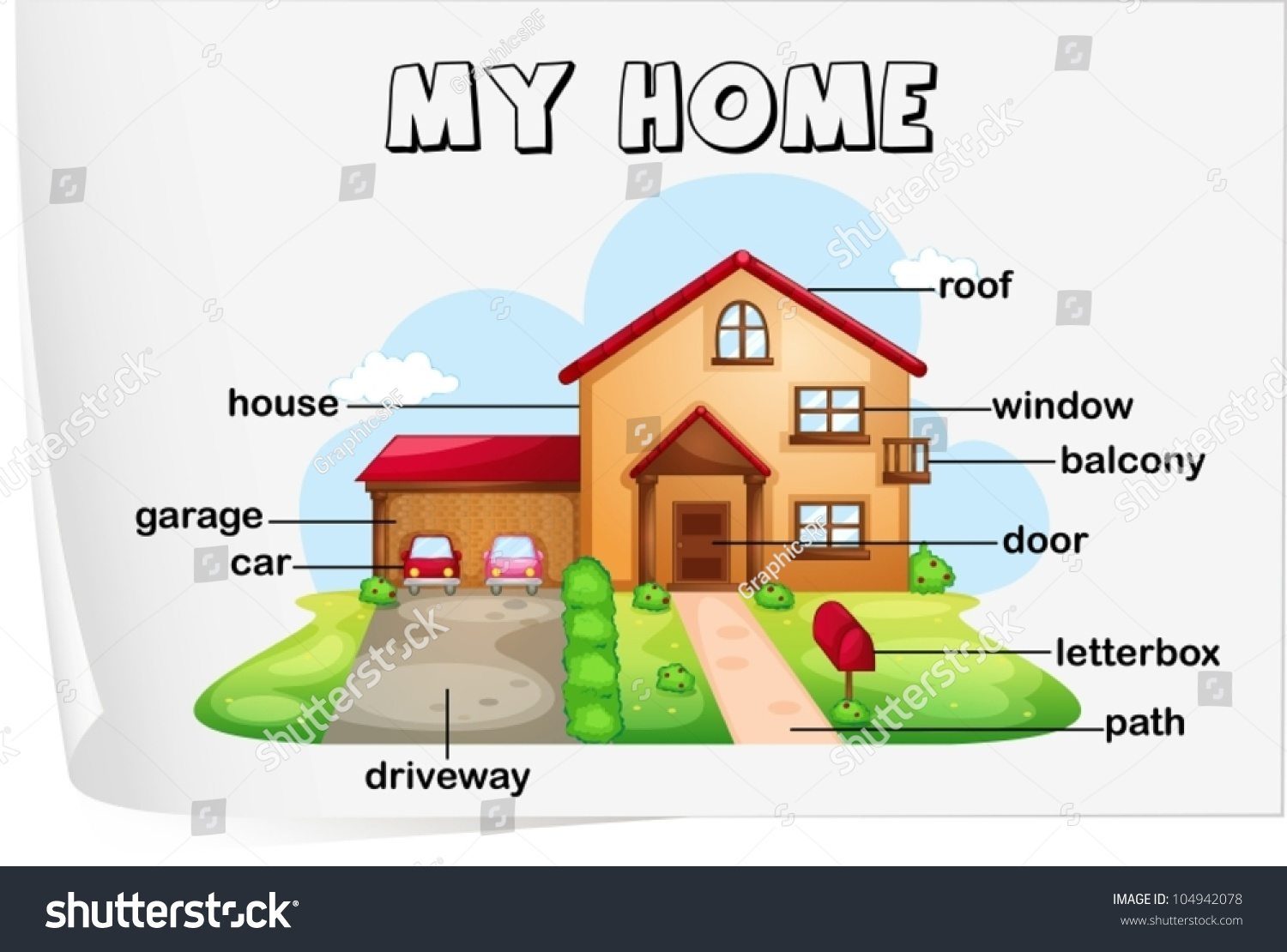 Illustration Parts House Stock Vector