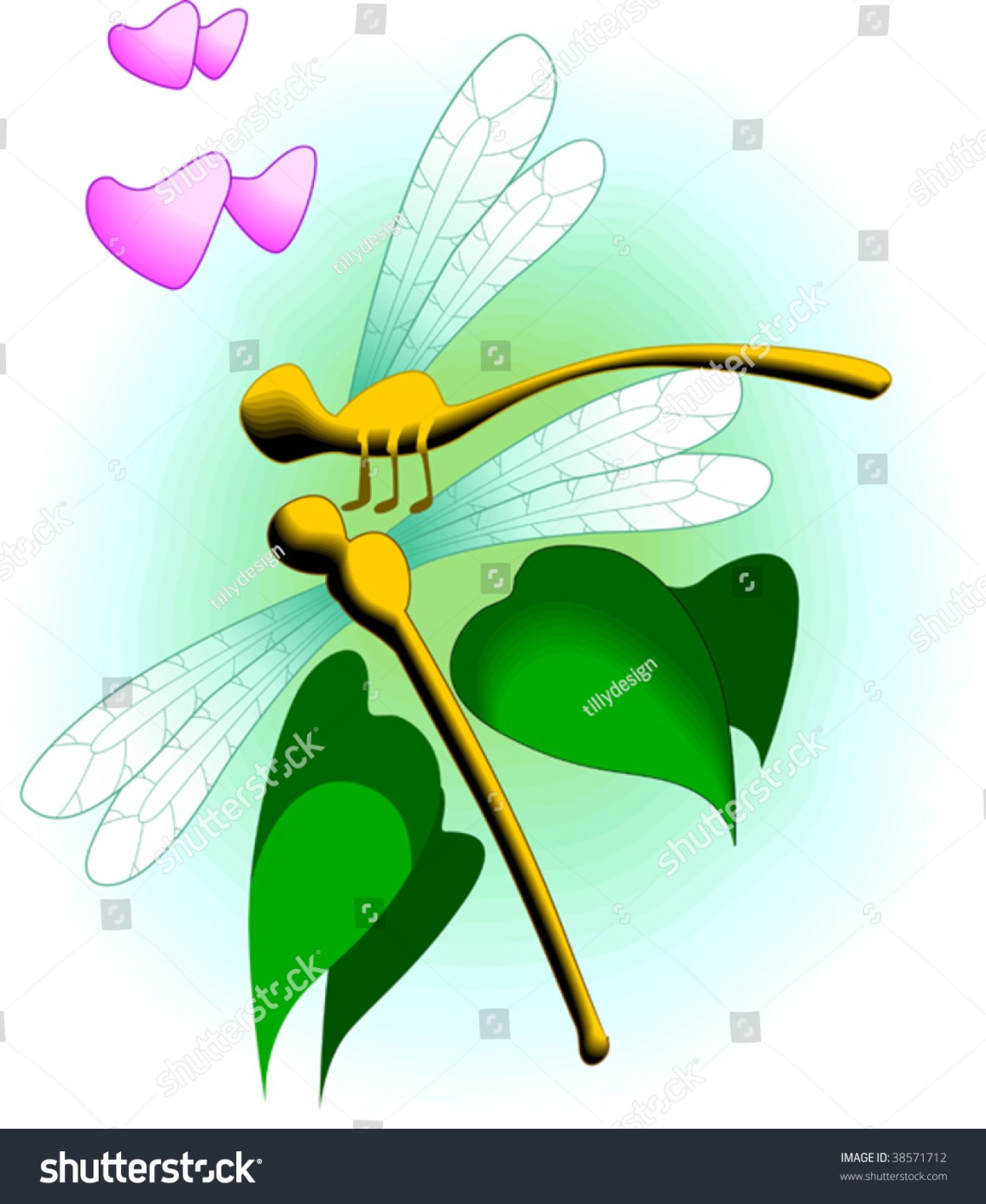Download Illustration Of Two Dragonfly With Love Symbols - 38571712 ...