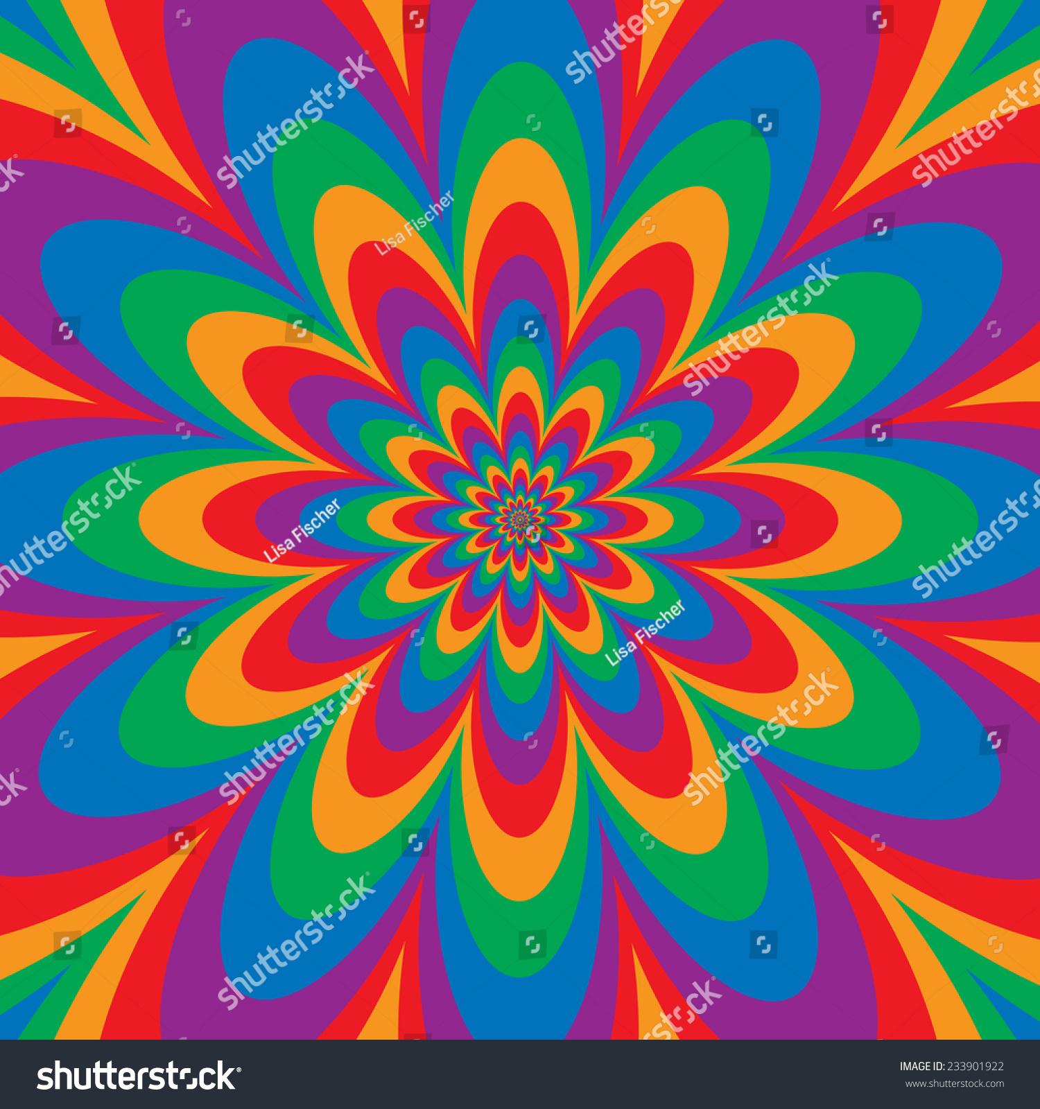 Infinite Flower Op Art Design Primary Stock Vector